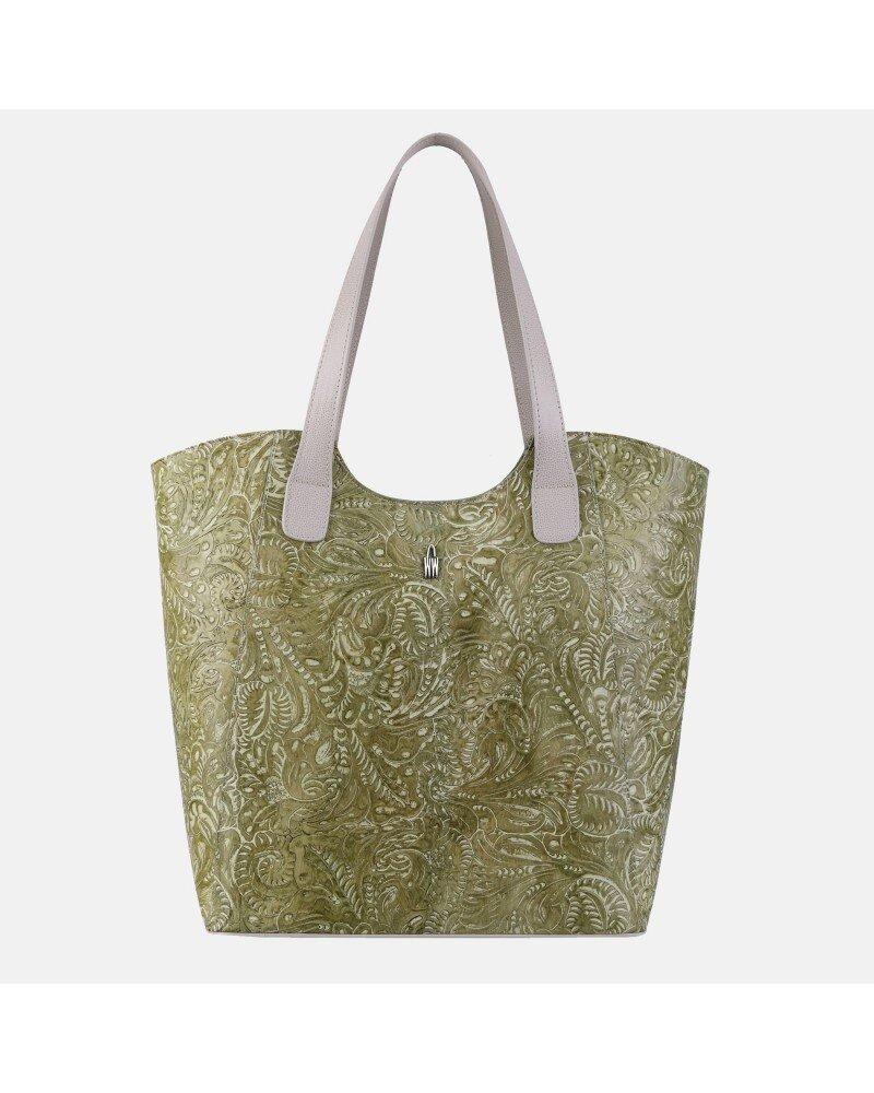 Zielona torebka skórzana z printem