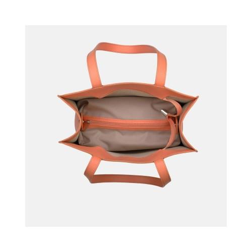 Brzoskwiniowa torebka skórzana