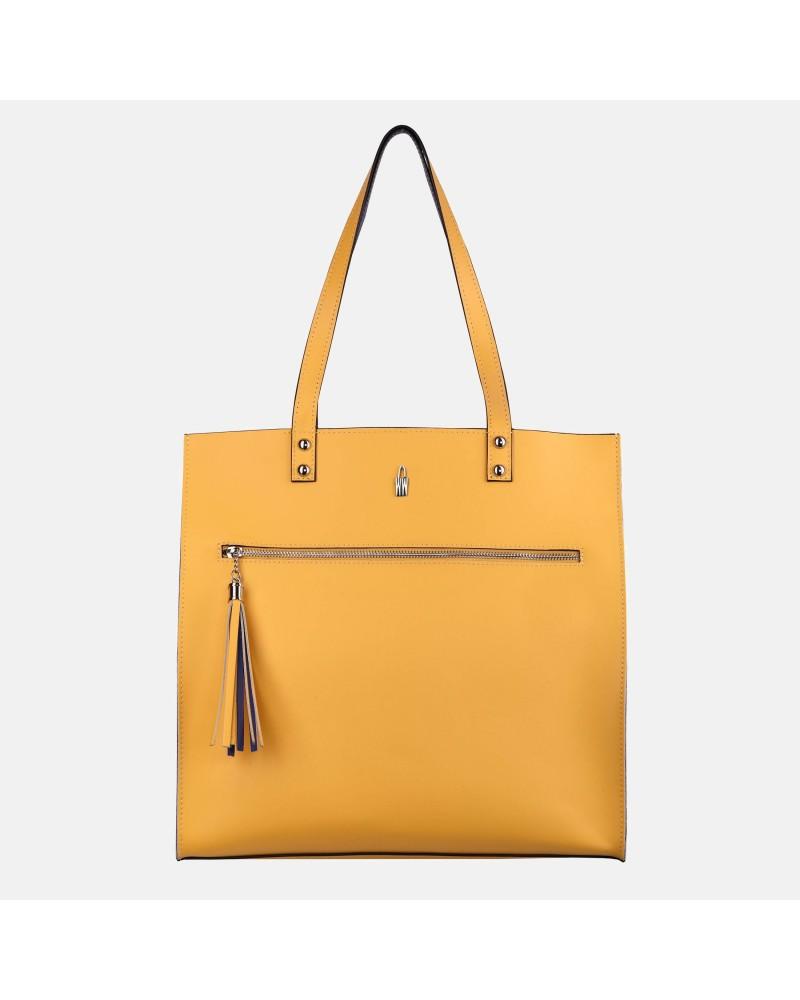 Żółtoniebieska torebka skórzana