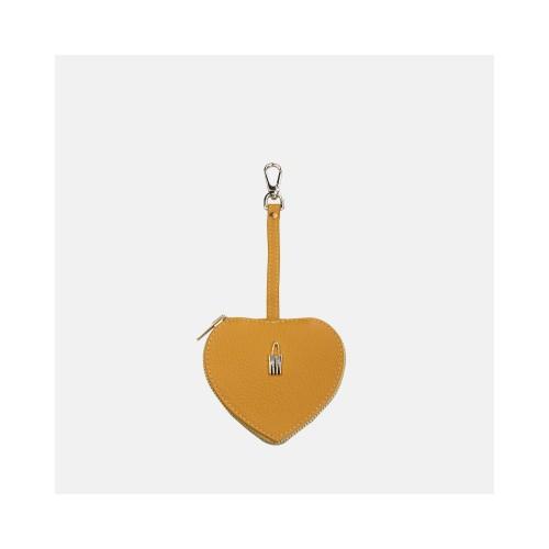 Żółte skórzane etui na klucze w kształcie serca