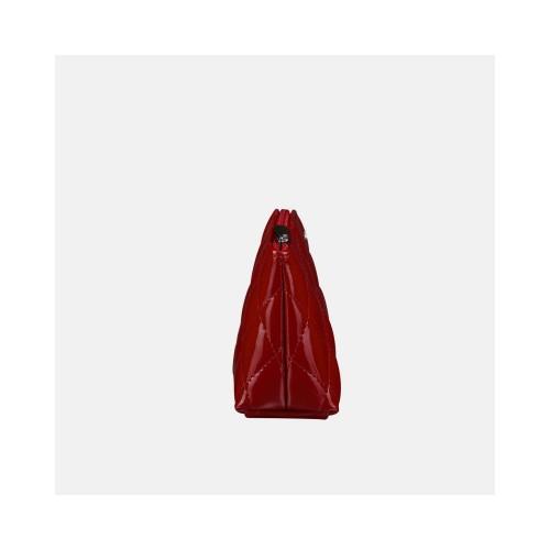 Czerwona lakierowana kosmetyczka skórzana