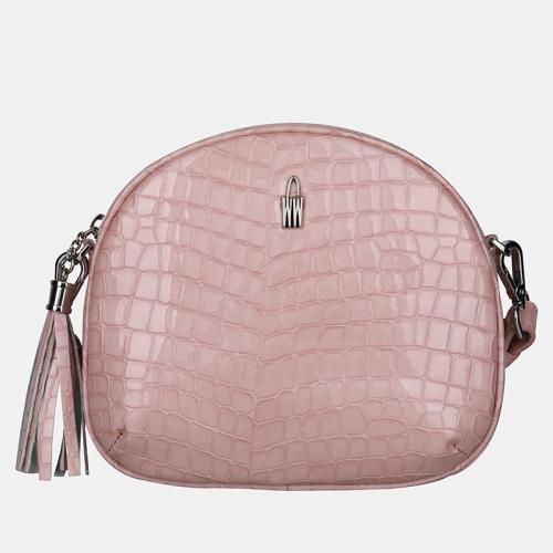 Różowa CROCO torebka skórzana