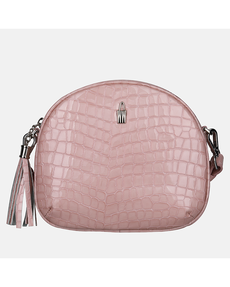 Różowa torebka skórzana