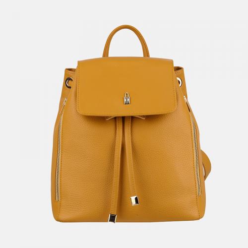 Żółty plecak damski ze skóry naturalnej