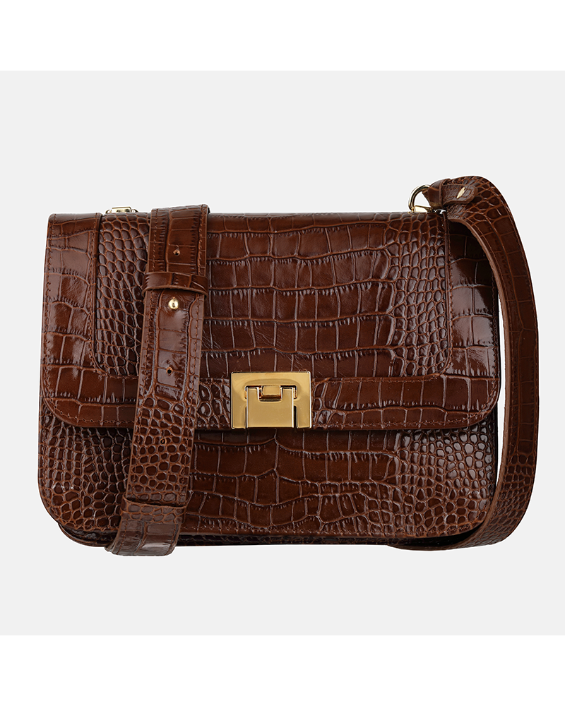 Mała torebka ze skóry na ramię z krokodylim wzorem w kolorze brązowym