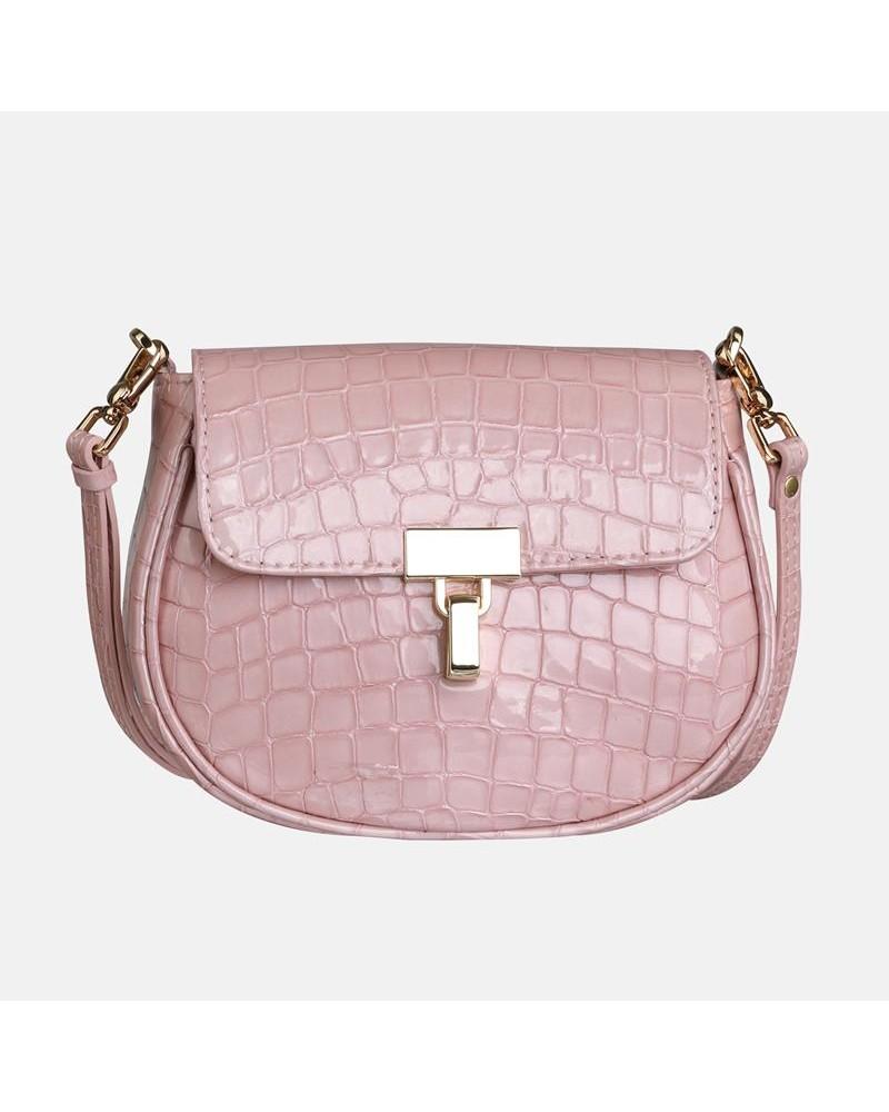 Różowa mała skórzana torebka Ariel z krokodylim wzorem dla dziecka
