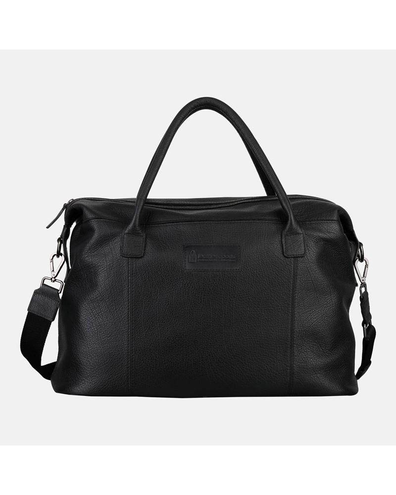 Czarna duża torba skórzana podróżna