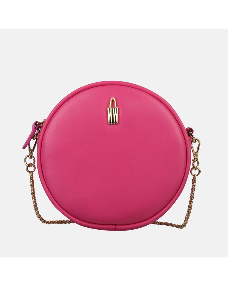 Mała różowa torebka Bella ze skóry naturalnej o uroczym kształcie