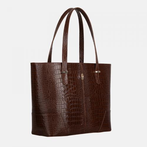Brązowa torba skórzana shopper z krokodylim wzorem