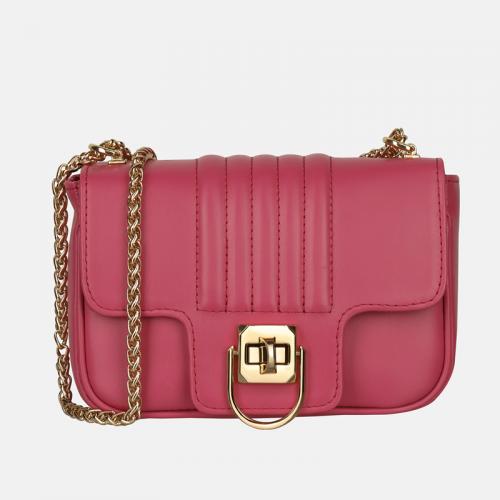 Elegancka różowa torebka ze skóry naturalnej na łańcuszku