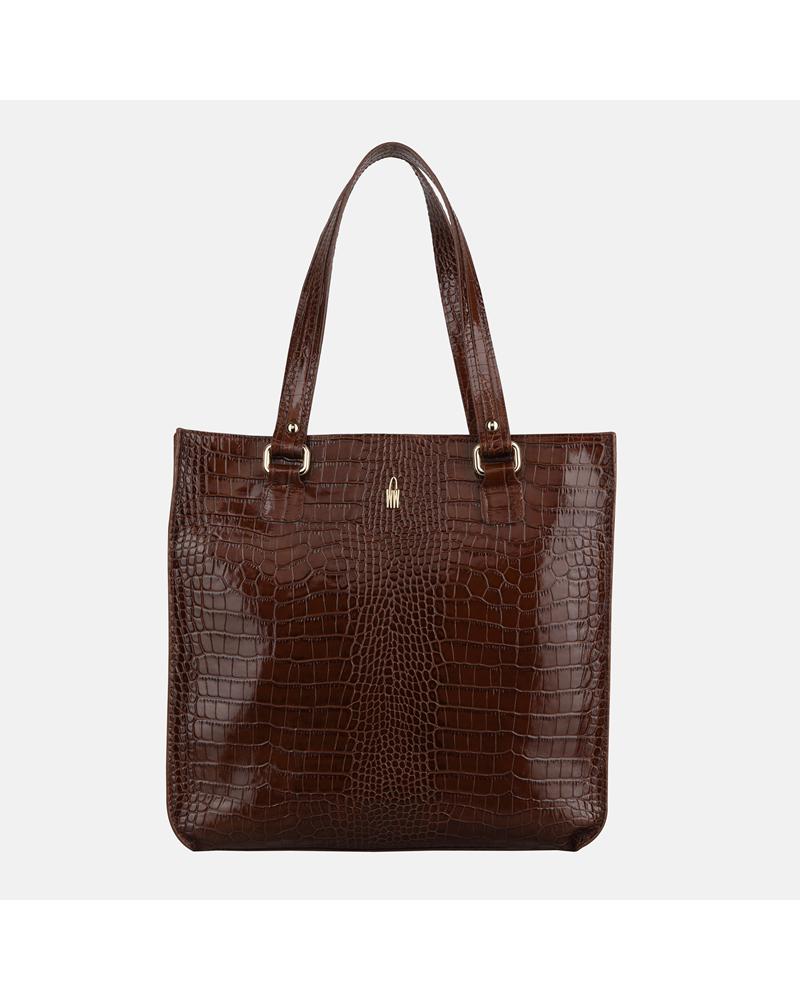 Brązowa torebka shopper skórzana z krokodylim wzorem
