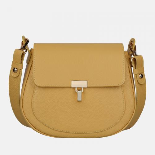 Mała żółta torebka przez ramię ze skóry naturalnej