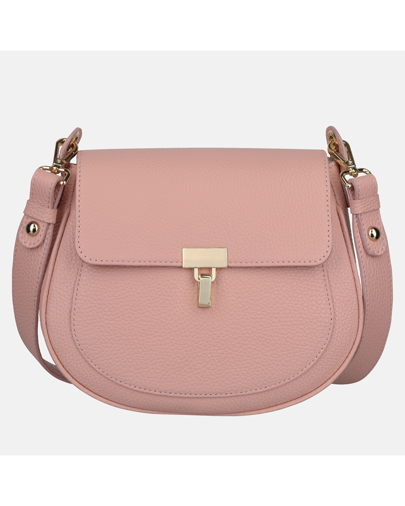 Mała różowa torebka ze skóry naturalnej typu crossbody