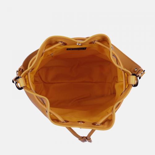 Żółta torebka typu worek ze skóry