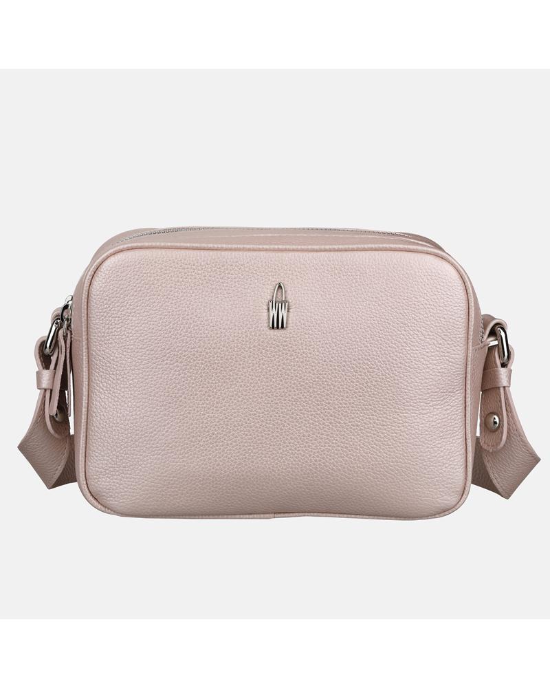 Mała różowa torebka na ramię – listonoszka ze skóry naturalnej