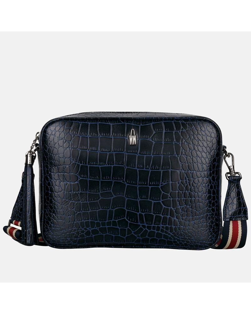 Granatowa torebka skórzana listonoszka damska z krokodylim wzorem i parcianym paskiem