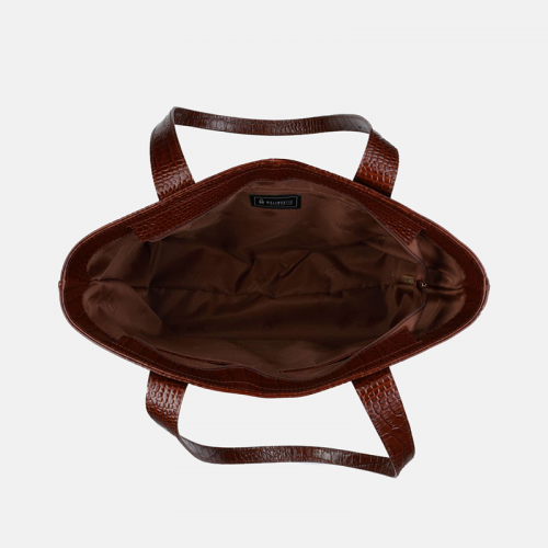 Brązowa torebka shopper ze skóry naturalnej lakierowanej i wzorem krokodyla