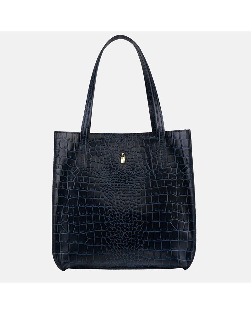 Granatowa torebka skórzana shopper z krokodylim wzorem