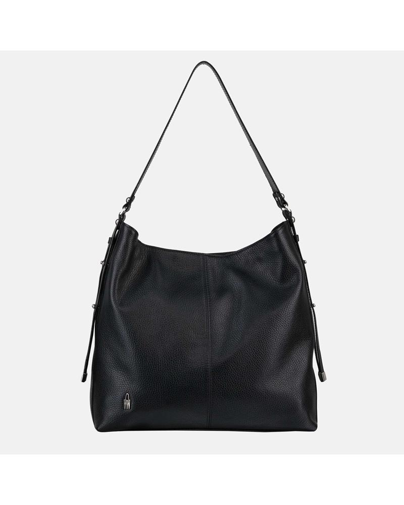 Czarna elegancka duża torebka worek ze skóry naturalnej