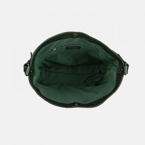 Zielona skórzana torebka damska na ramię ze wzorem krokodyla