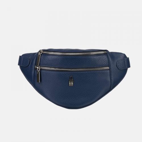 Saszetka damska – granatowa torebka ze skóry naturalnej
