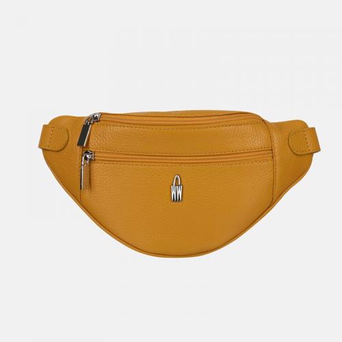 Żółta torebka nerka skórzana
