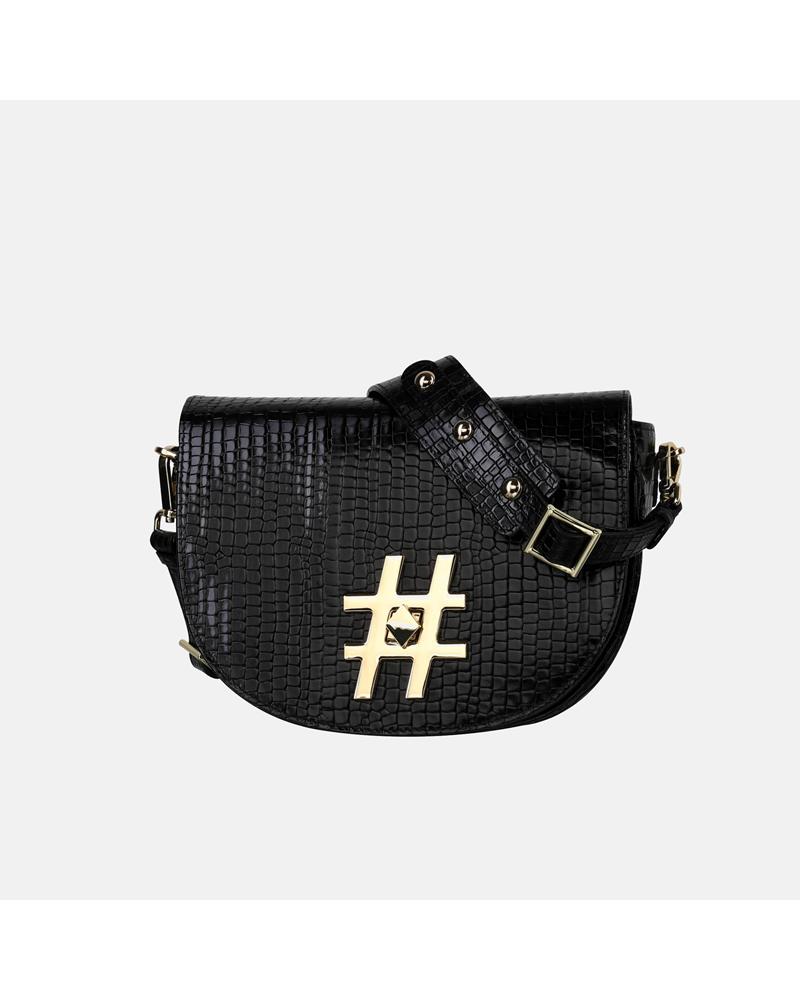 Mała czarna skórzana torebka z krokodylim wzorem i biżuteryjną aplikacją