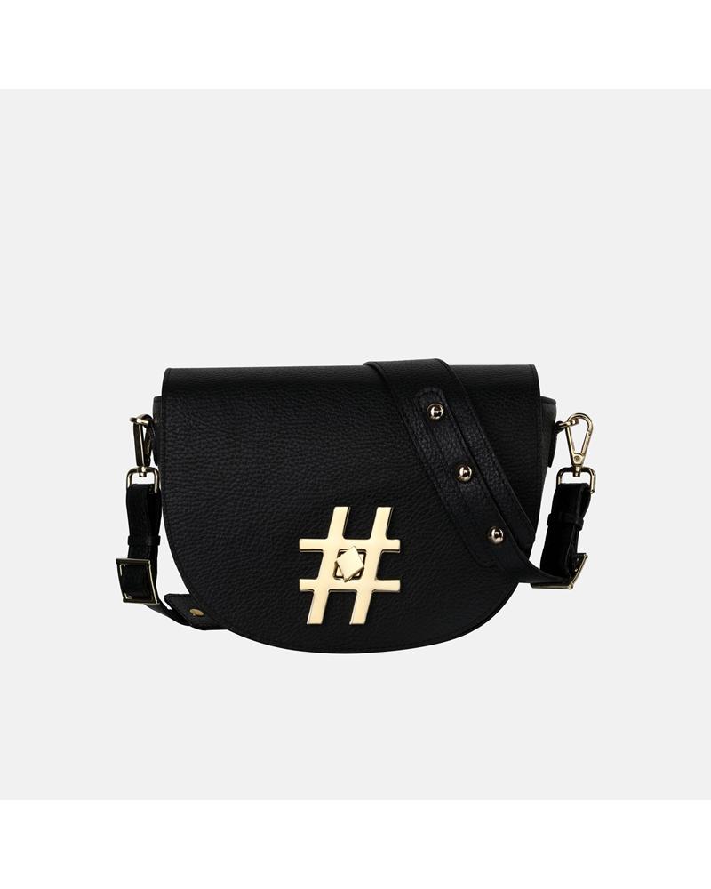 Mała torebka crossbody ze skóry w kolorze klasycznej czerni z biżuteryjną aplikacją