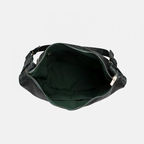Duża torebka worek ze skóry naturalnej w kolorze zielonym z wzorem panterki