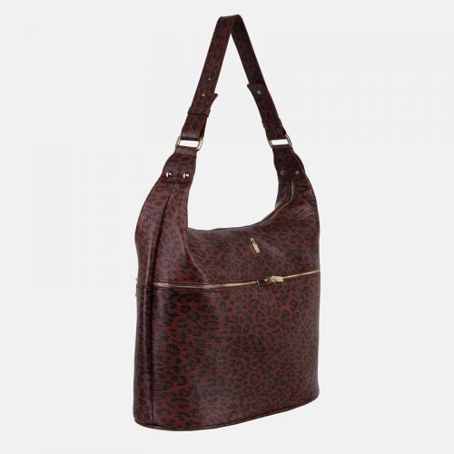 Bordowa torebka damska duża worek ze skóry i wzorem panterki