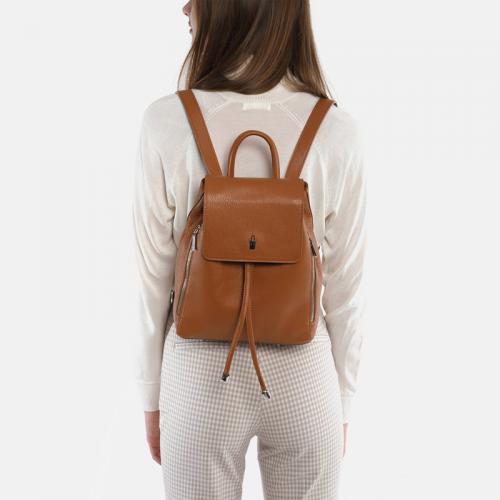Plecak skórzany damski w kolorze miodowym