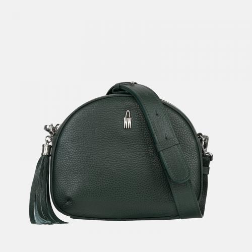Zielona torebka mała listonoszka skórzana