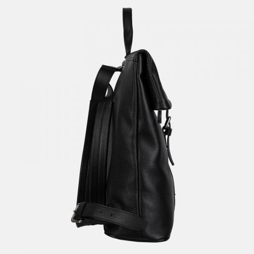 Duży czarny plecak damski ze skóry naturalnej