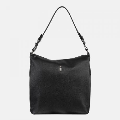 Czarna duża torebka ze skóry na ramię
