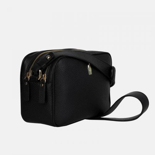 Czarna mała torebka na ramię ze skóry naturalnej