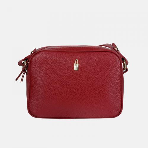 Mała czerwona torebka ze skóry na ramię