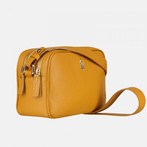 Żółta torebka na ramię – listonoszka ze skóry naturalnej