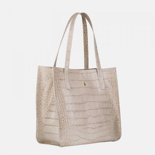 Beżowa torebka skórzana shopper z krokodylim wzorem