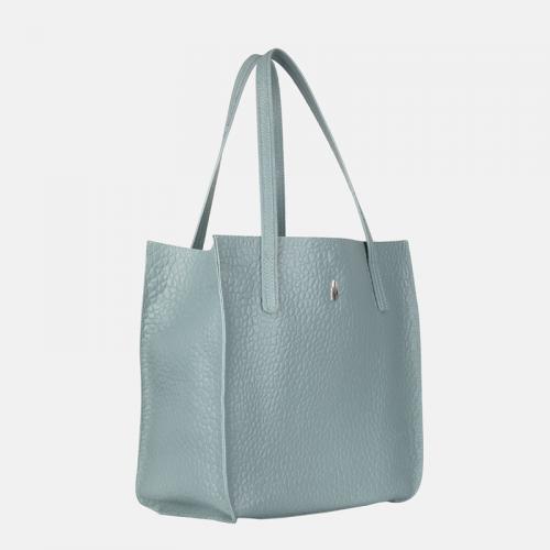Niebieska torebka skórzana shopper