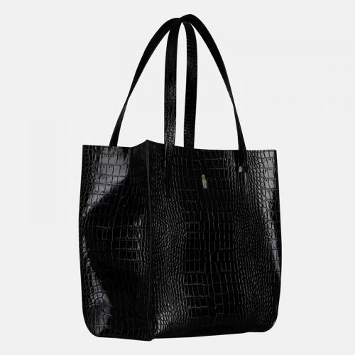 Czarna skórzana torebka shopper z krokodylim wzorem