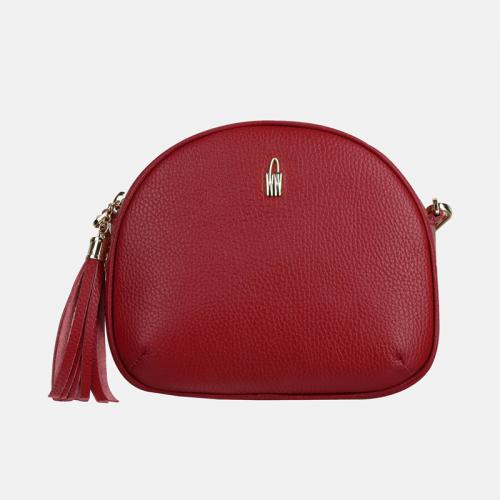 Okrągła mała czerwona torebka skórzana listonoszka