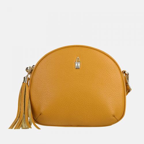 Mała torebka żółta skórzana typu crossbody