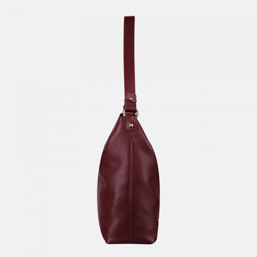 Duża torebka skórzana na ramię w kolorze bordowym
