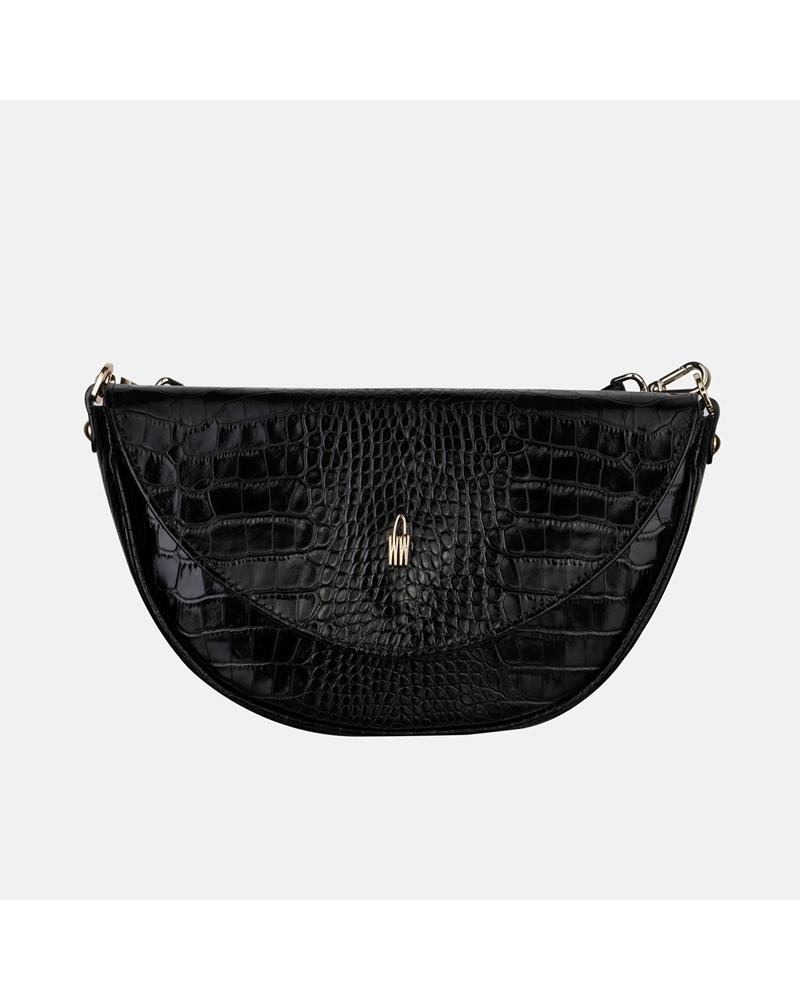 Czarna torebka skórzana we wzór krokodyla w typie crossbody