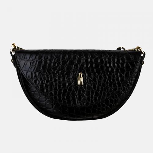 Mała czarna torebka skórzana listonoszka o kształcie półksiężyca z imitacją wzoru krokodyla