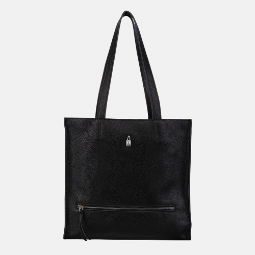 Czarna skórzana torebka shopperka