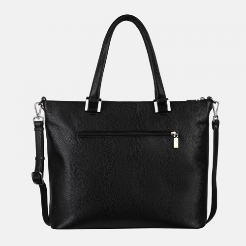 Czarna torebka skórzana shopper