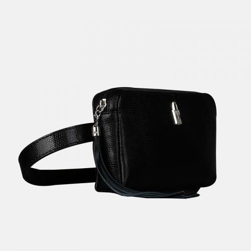 Czarna torebka nerka skórzana damska z boho ozdobą