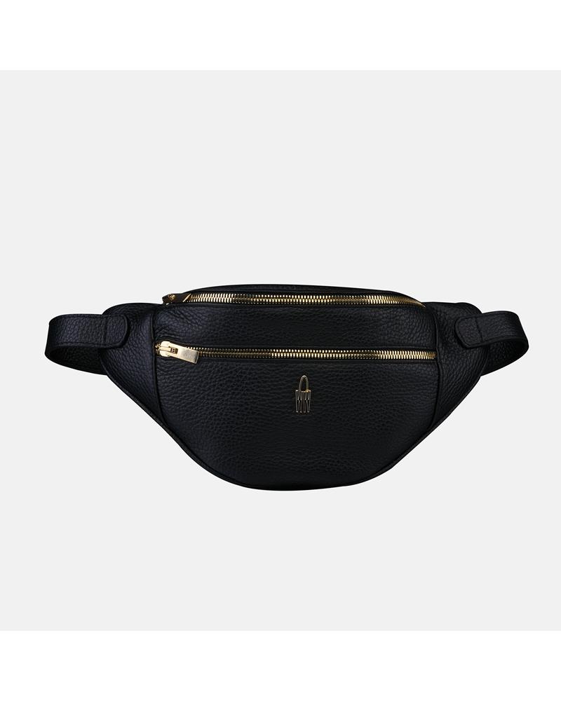 Czarna torebka saszetka damska na pasku ze skóry naturalnej