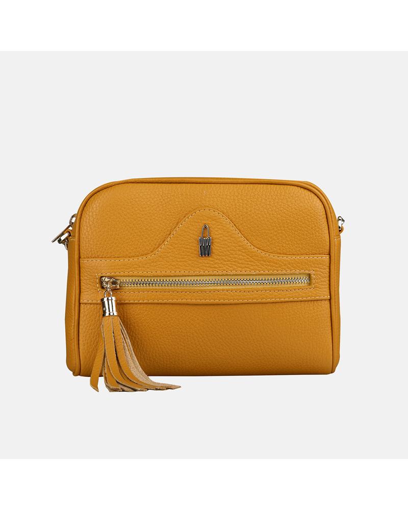 Żółta torebka skórzana